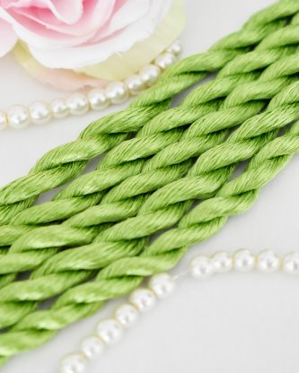 Chartreuse color Non-Twisted Flat Silk Embroidery Thread