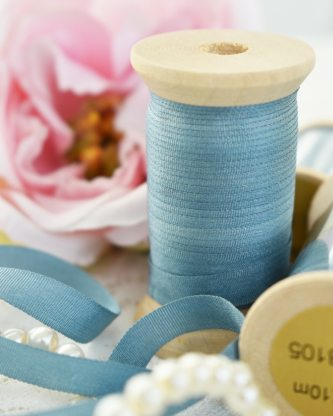 Embroidery Silk Ribbon Blue Color 4mm (8105)