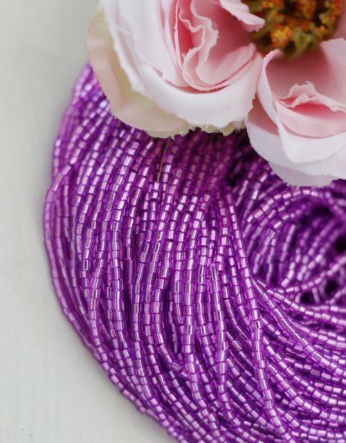 3 x 2 cut Lilac Transparent color Beads