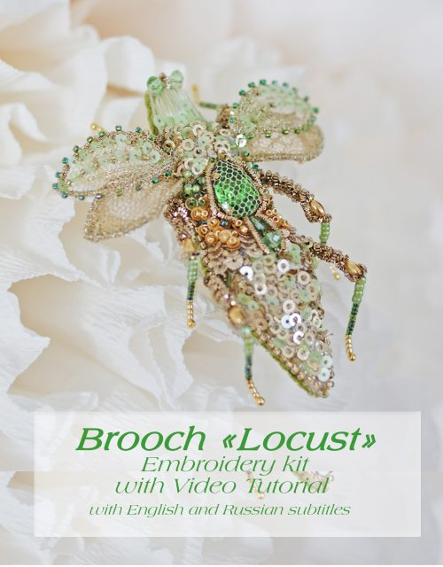 Brooch Locust Video Tutorial with material and pattern-Step by step master class