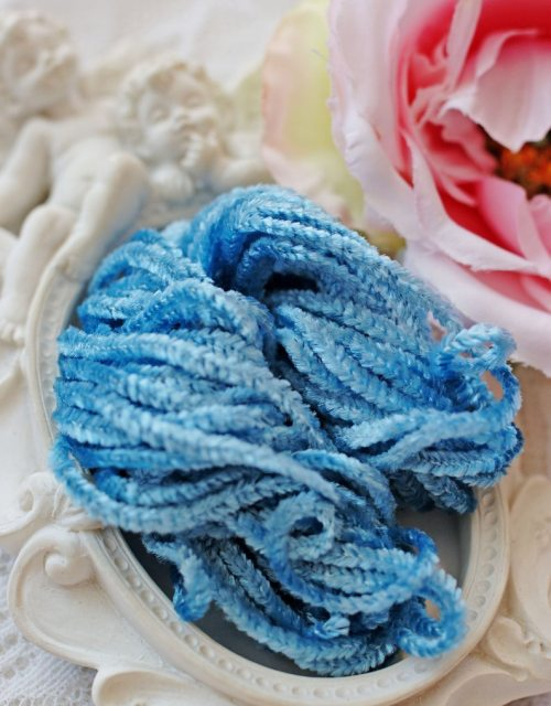 Sky Blue color Rayon Chenille
