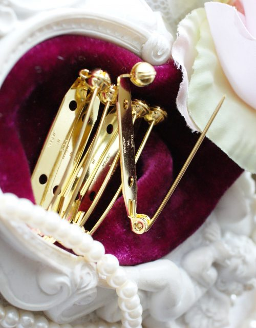 5x Brooch Pin Back Gold color