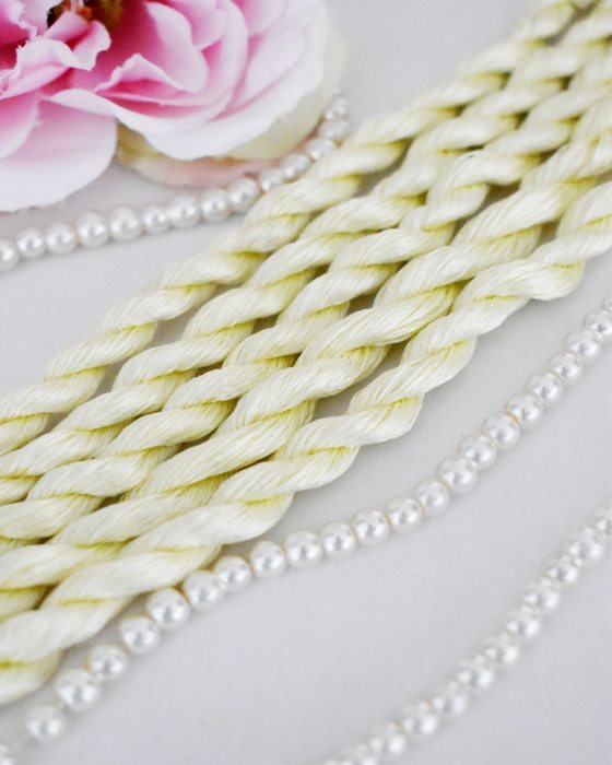 Very light yellow color Non-Twisted Flat Silk Embroidery Thread