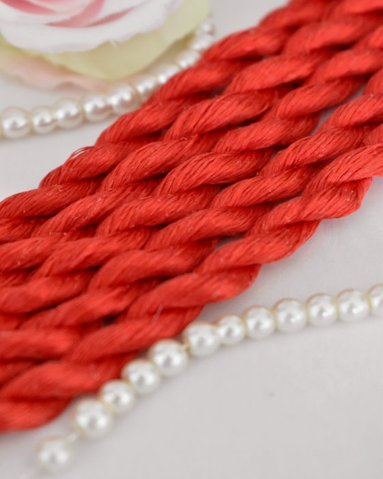 Red color Non-Twisted Flat Silk Embroidery Thread
