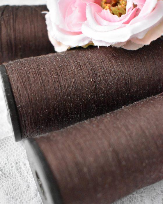 Vintage Pure Silk Thread Brown Color