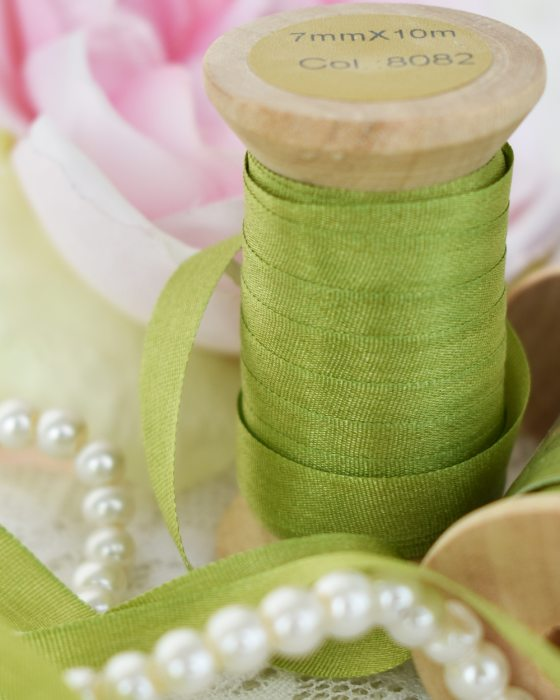 Embroidery Silk Ribbon Green Color 7mm (8082)