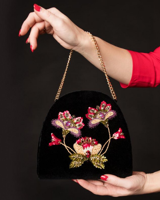 Exclusive Embroidered velvet bag
