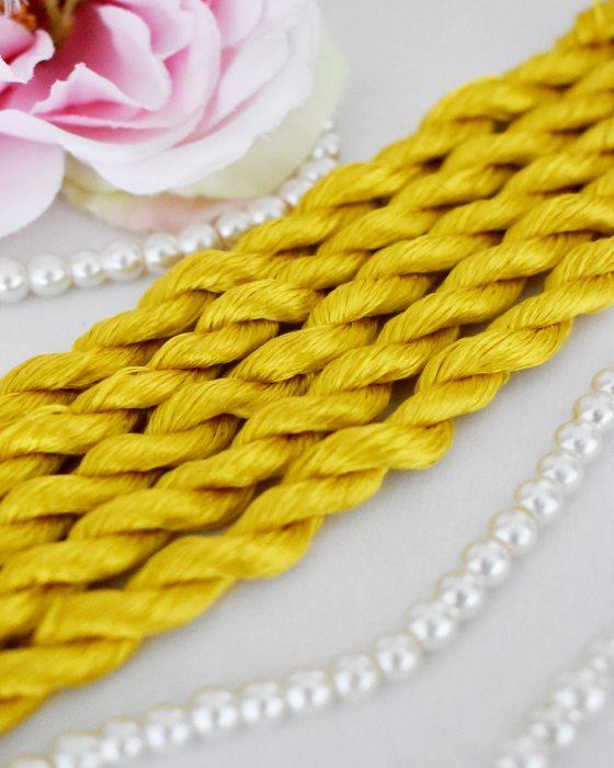 Mari gold color Non-Twisted Flat Silk Embroidery Thread