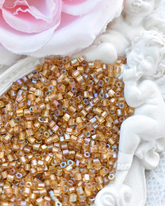 Toho Hexagon color Gold-lined Rainbow Topaz beads 11/0