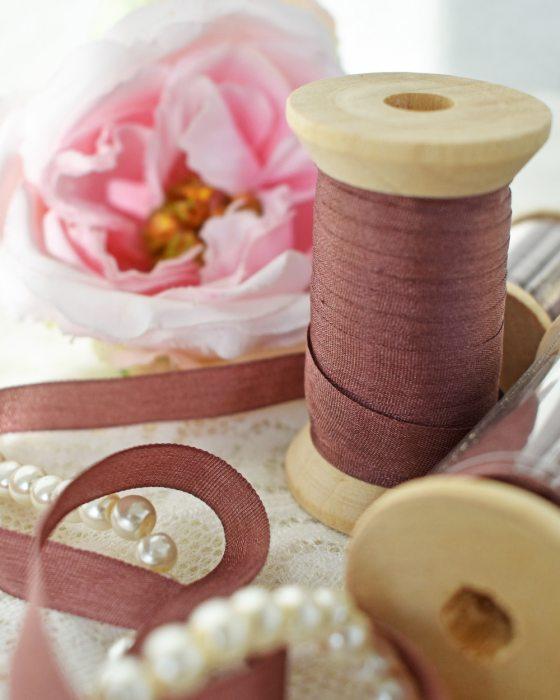 Embroidery Silk Ribbon Garnet Color 7mm (8039)