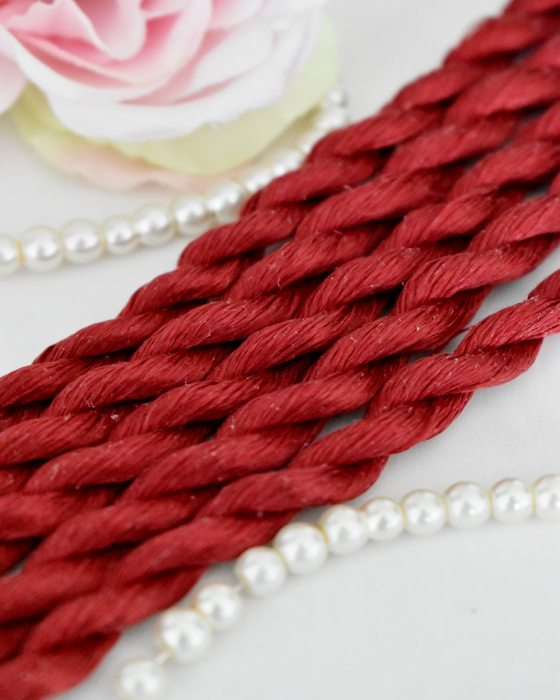 Dark Red color Non-Twisted Flat Silk Embroidery Thread