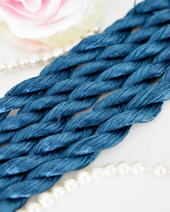 Cobalt blue color Non-Twisted Flat Silk Embroidery Thread
