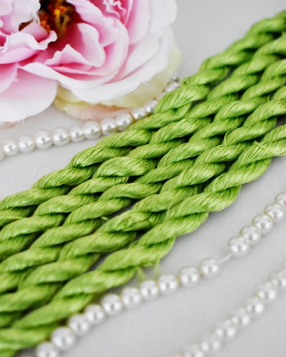 Fresh lime color Non-Twisted Flat Silk Embroidery Thread
