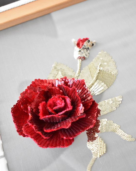 Applique Red rose, hand made embroidered motif