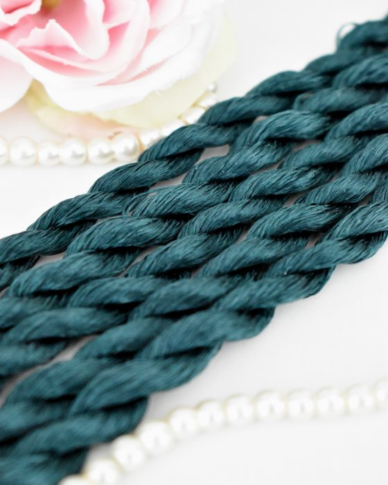 Dark teal color Non-Twisted Flat Silk Embroidery Thread