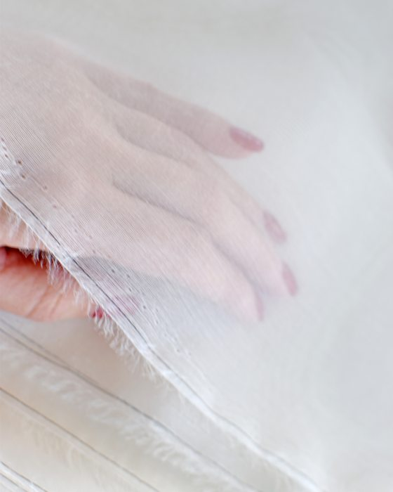 Off-White Silk organza for luneville embroidery 1/2 metre