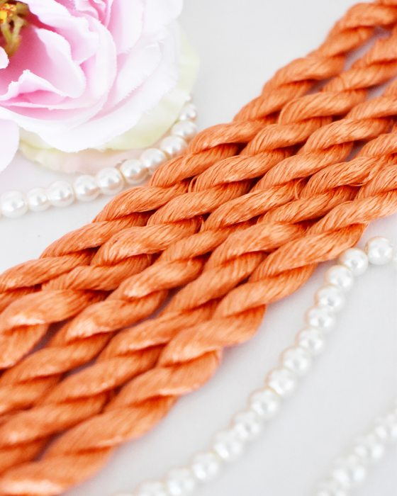 Tangerine color Non-Twisted Flat Silk Embroidery Thread
