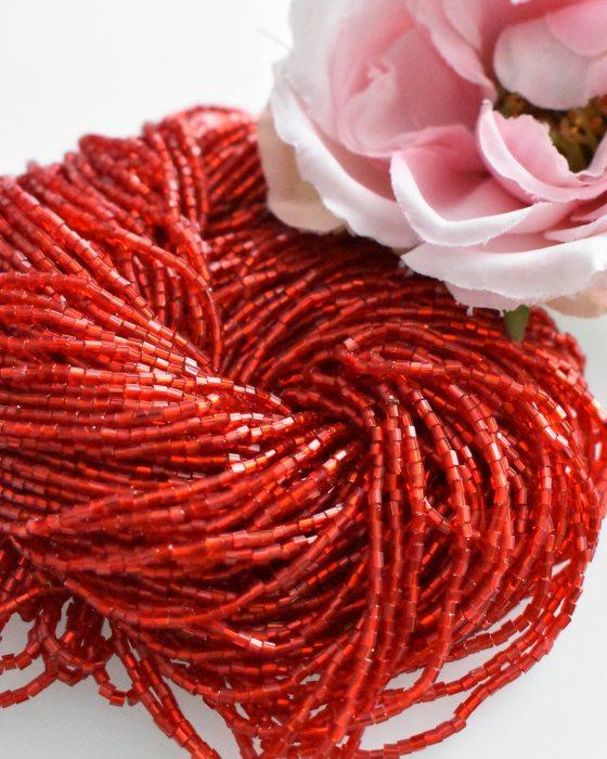 3 x 2 cut Red color Czech beads