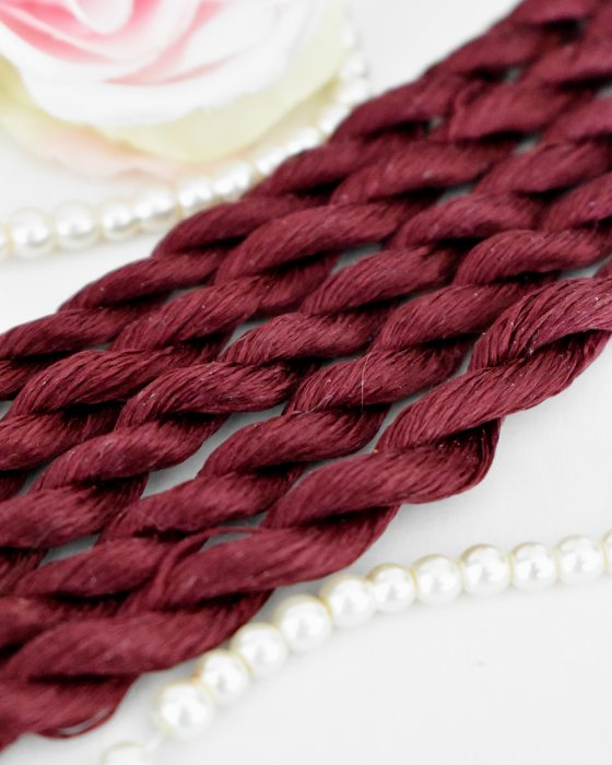 Burgundy color Non-Twisted Flat Silk Embroidery Thread