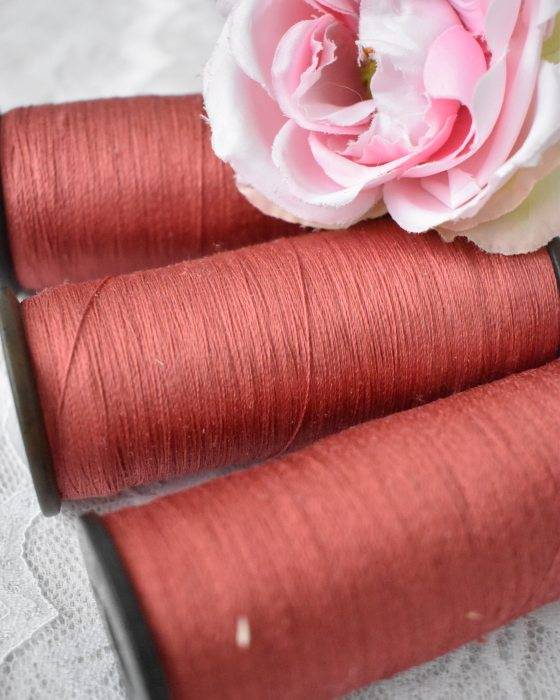 Vintage Pure Silk Thread Fire Brick Color