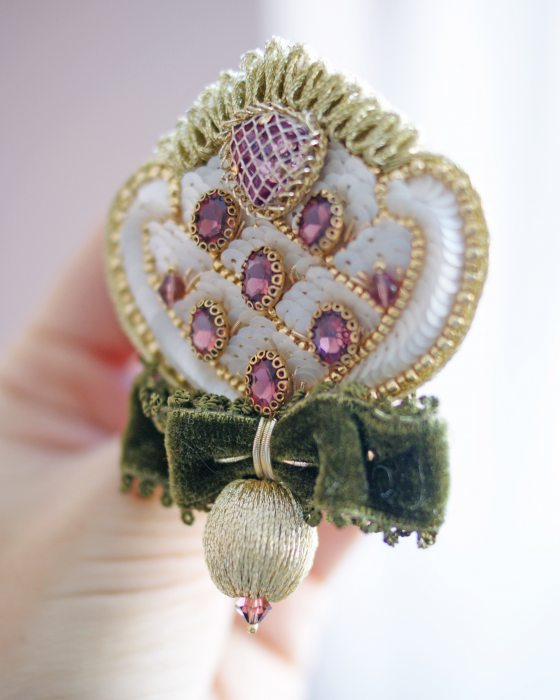 Embroidered brooch Vintage style