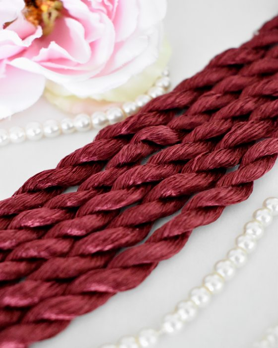 Sangria color Non-Twisted Flat Silk Embroidery Thread