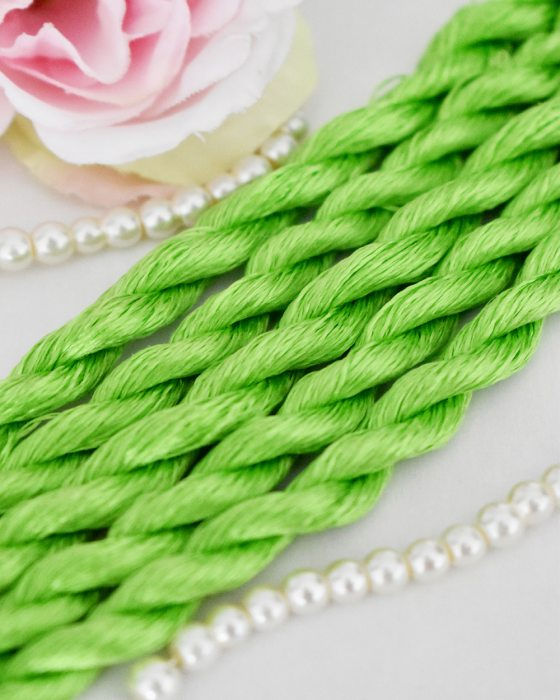 Lime green color Non-Twisted Flat Silk Embroidery Thread