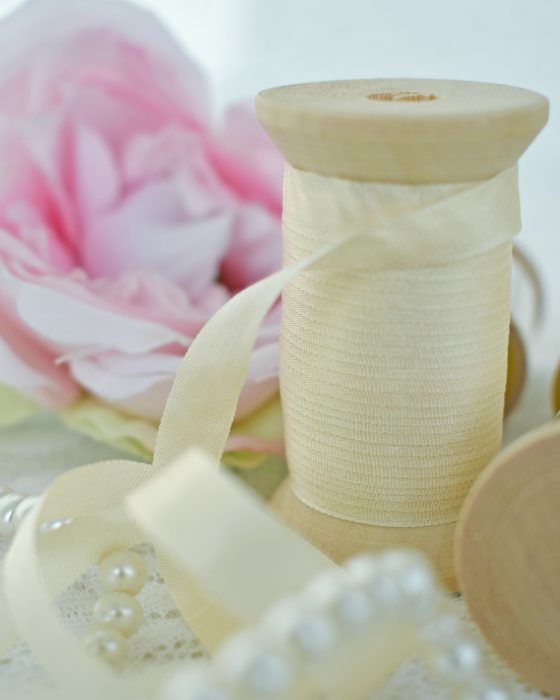 Embroidery Silk Ribbon Ivory Color 7mm (8003)
