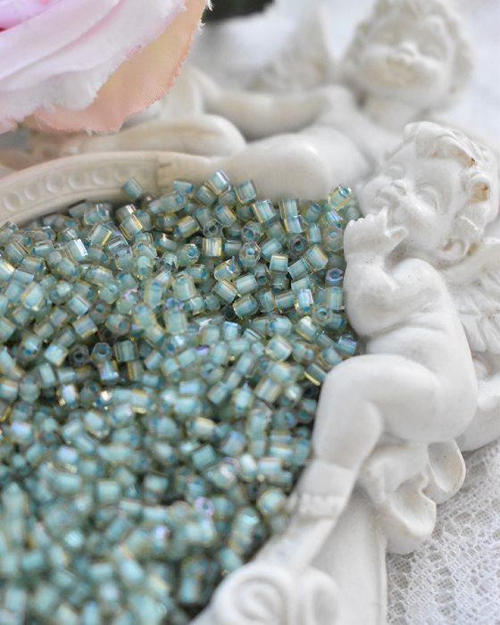 Toho Hexagon color Rainbow Lt Topaz/ Sea foam lined beads 11/0