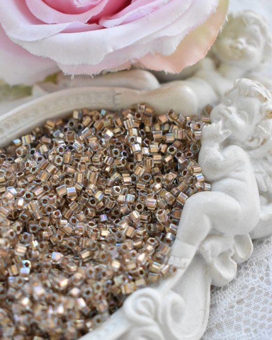 Toho Cube Gold-lined Rainbow Crystal beads 1.5 mm