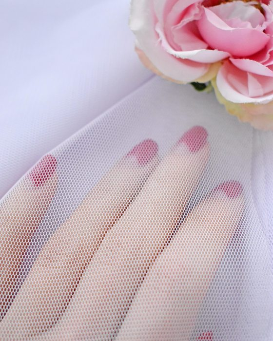 White color soft Tulle Fabric