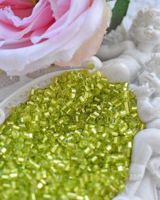 Toho Hexagon color Lime Green beads 11/0
