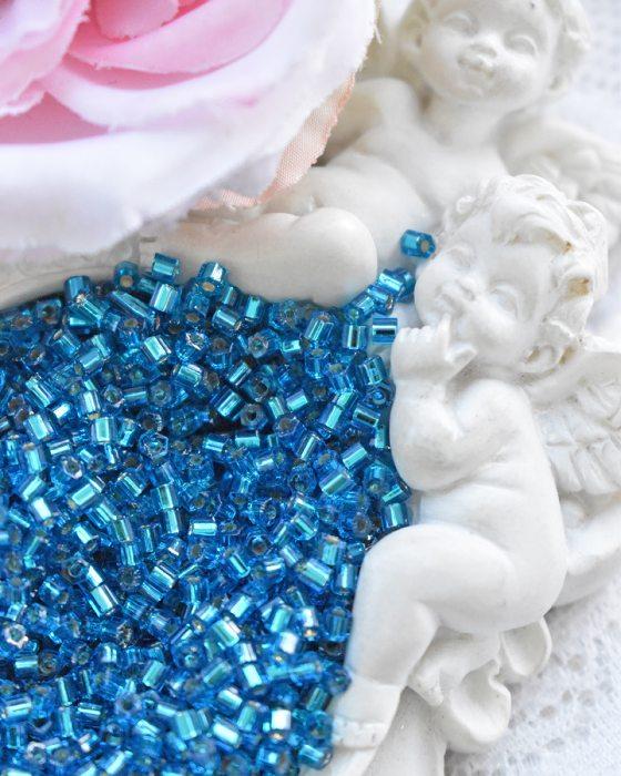 Toho Hexagon color Silver-Lines Aqua beads 11/0