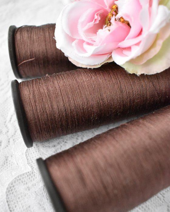 Vintage Pure Silk Thread Chocolate Color