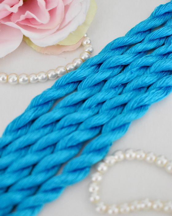 Electric Blue color Non-Twisted Flat Silk Embroidery Thread