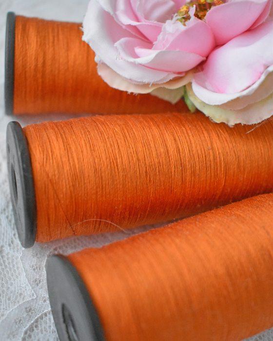 Vintage Pure Silk Thread Orange Color