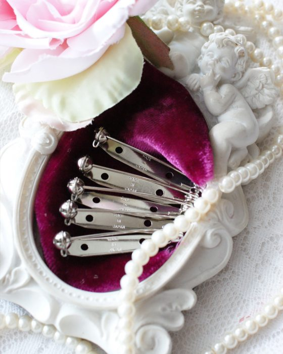 5x Brooch Pin Back Silver color