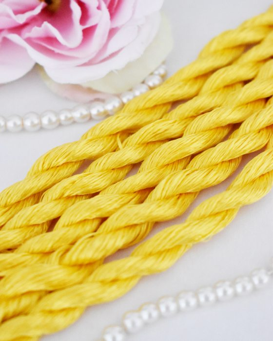 Yellow color Non-Twisted Flat Silk Embroidery Thread