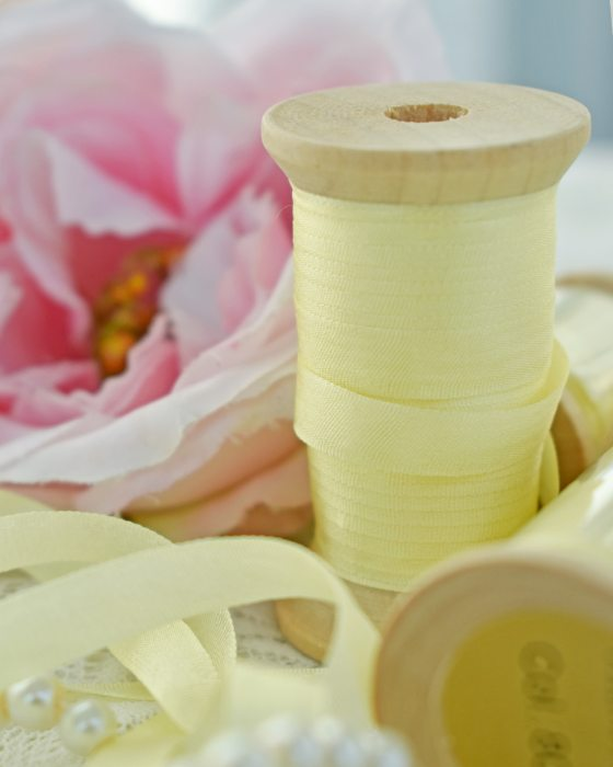 Embroidery Silk Ribbon Yellow Color 7mm (8005)