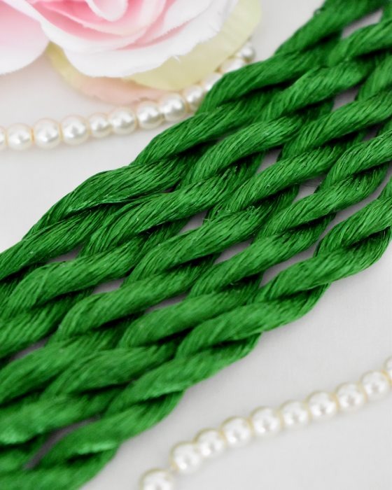 Green color Non-Twisted Flat Silk Embroidery Thread