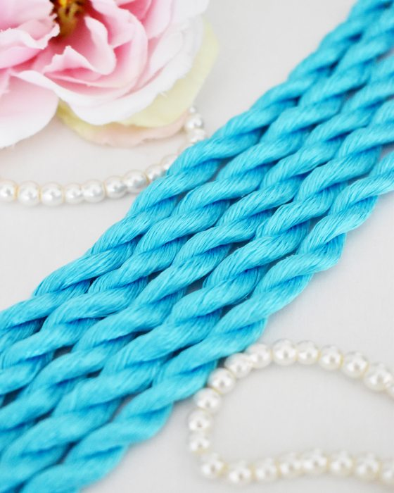 Cyan color Non-Twisted Flat Silk Embroidery Thread