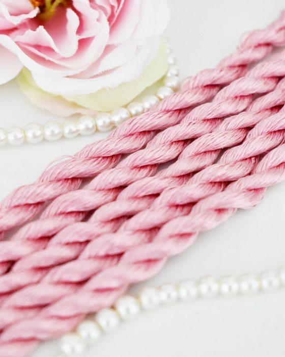 Flamingo color Non-Twisted Flat Silk Embroidery Thread