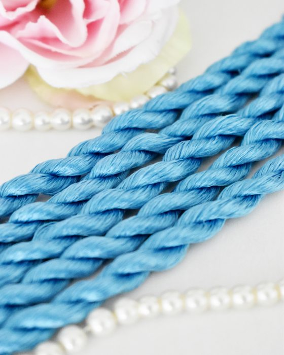 Cerulean color Non-Twisted Flat Silk Embroidery Thread