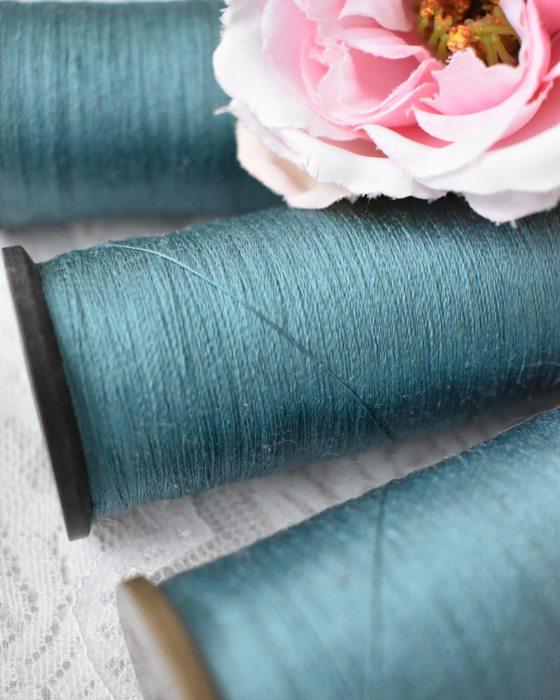 Vintage Pure Silk Thread Dark Turquoize Color