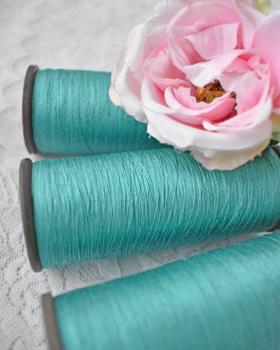 Vintage Pure Silk Thread Green Water Color
