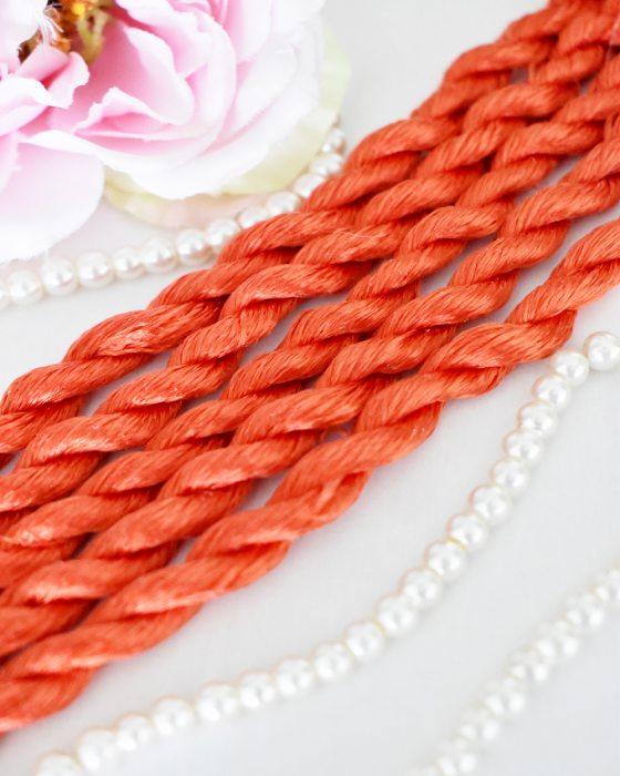 Dark orange color Non-Twisted Flat Silk Embroidery Thread