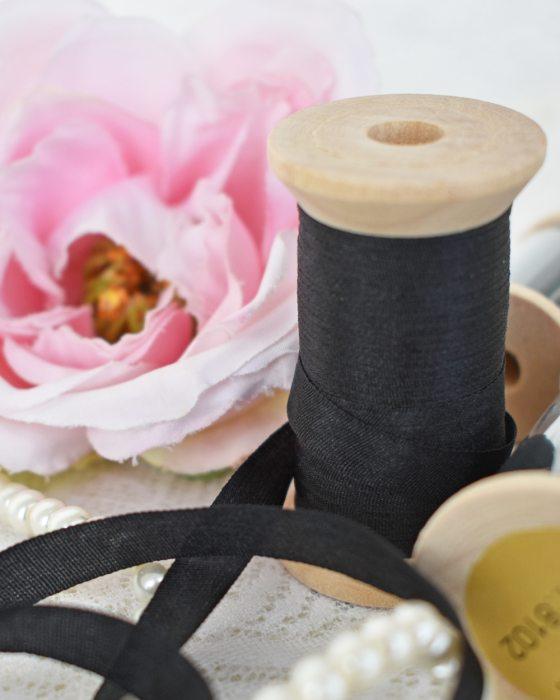Embroidery Silk Ribbon Black color 7mm (8102)