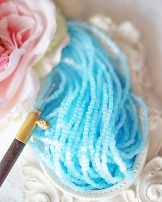 Satin Sky Blue 2 cut beads