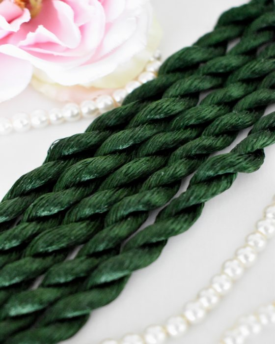 Dark Emerald color Non-Twisted Flat Silk Embroidery Thread