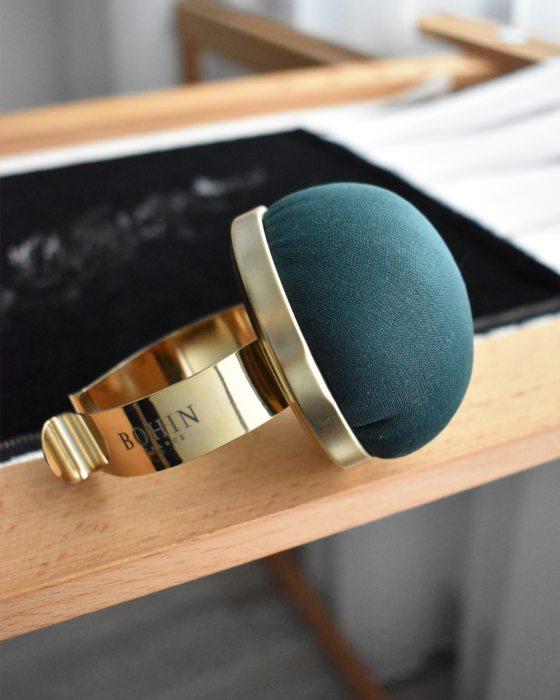 Bohin Velvet pincushion with metallic bracelet Christmas color